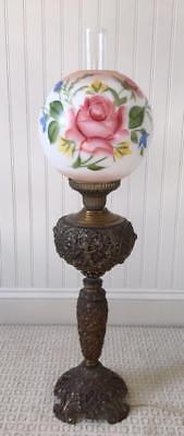 Antique AINSLEY  Banquet Lamp Brass Cherub Cast Metal  w/ Floral Globe 34""