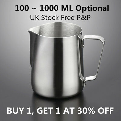 Stainless Steel Milk Frothing Jug Frother Coffee Latte Container Metal Pitcher D
