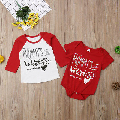 Valentine Brothers Kids T-shirt Tops Baby Boy Romper Bodysuit Clothes Outfit US