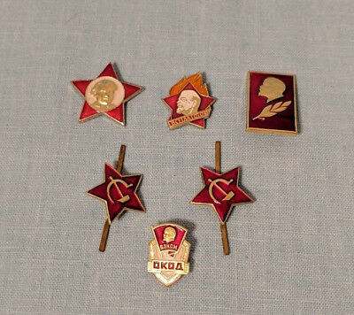 Lot of 6 Lenin Pins Soviet Russia Communism USSR Collectibles
