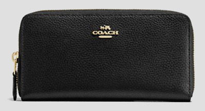 New Coach 16612 Accordion Zip Pebbled Leather wallet Black