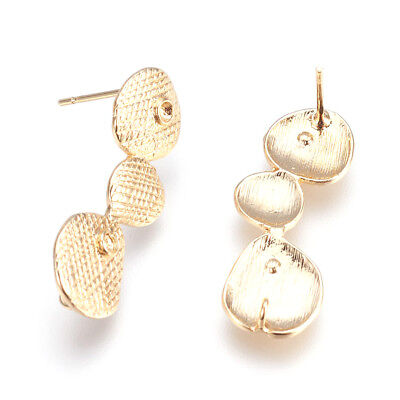 10 Gold Plated Brass Bubble Earring Posts Bumpy Stud Findings Nickel Free 26.5mm