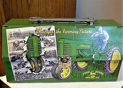 John Deere Moline, ILL. Tin Lunch Box w/ Double Hinged Lid & Wrench Handle