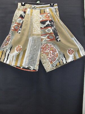 1980's Vintage Short Culottes with 1/2 Elastic Waist in Abstract Print.