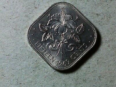 Bahamas 15 cents 1969 square coin Hibiscus flower