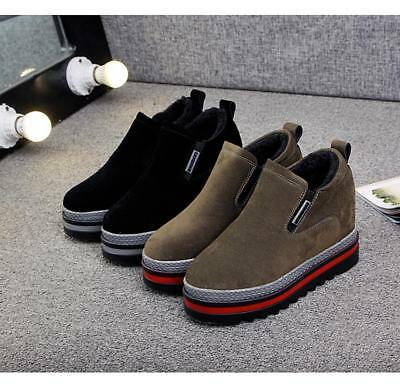 e8fd7eb0cb64 Womens High Platform Wedge hidden Heel Creepers Pump Slip On Loafers Suede  Shoes