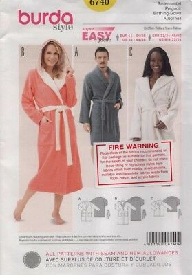 Burda Sewing Pattern 6740 Dressing Gown Sewing Pattern Size US 6-24 EUR 32-50