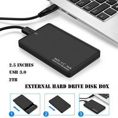 2.5 Inch 2TB Portable USB 3.0 External Hard Drive Disk Storage Devices case UK