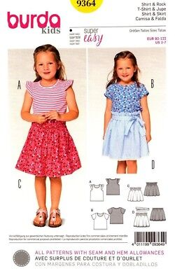 Burda Sewing Pattern 9364 Girls Shirt Skirt Tee T-Shirt Size 2-7