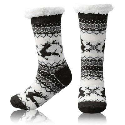 85214912a6179 Slipper Socks Fleece-Lined Cozy Thick Winter Knee Highs Stockings for Woman  Girl
