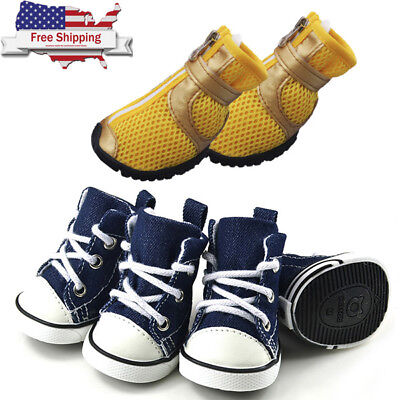 US 4pcs Dog Shoes Small Large Anti-slip Mesh Boots Booties Snow Rain Reflective