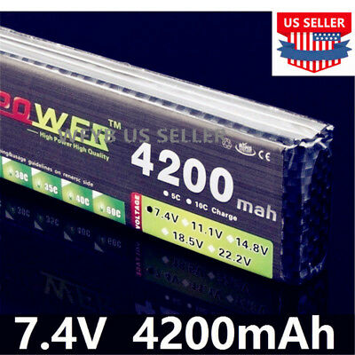 7.4V 4200mAh 25C 2S LiPo Battery LION POWER US SELLER