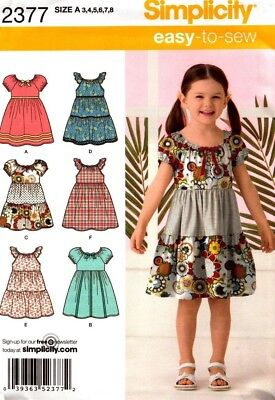 Simplicity Sewing Pattern 2377 Childs Dress Girls Peasant Dress Sizes 3-8 NEW