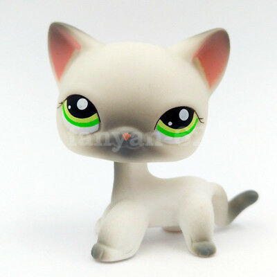 LPS Toys Littlest Pet Shop Grey White Short Hair Cat Collection Figure Kid Gifts