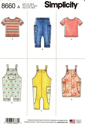 Simplicity Sewing Pattern 8660 Toddlers Top Pants Jumper Overalls Size 1/2-4