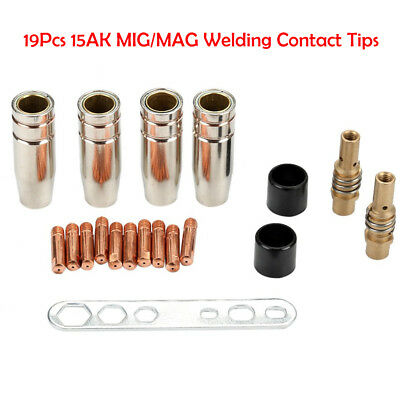 19 x MB-15AK MIG/MAG M6 Welding Torch Welder Contact Tips Holder Gas Nozzle UK