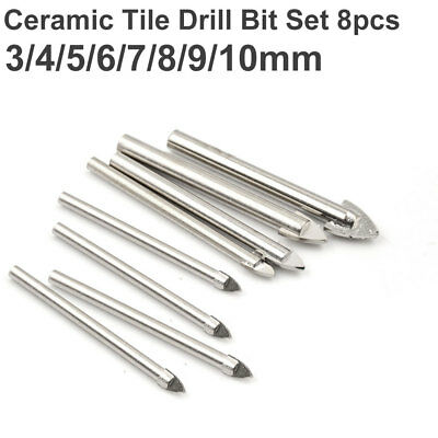 8pcs Porcelain Spear Head Ceramic Tile Glass Marble Drill Bits Set 3-10mm