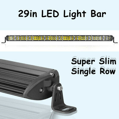 30inch Cree Super Slim Single Row LED Light Bar Spot Flood 6000k Driving UTV ATV