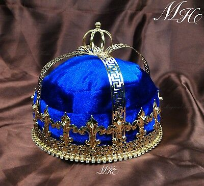 US Blue Velvet Men's Tiara Imperial Medieval Crown King Pageant Party Costumes
