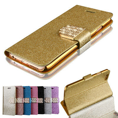 Case For Samsung Galaxy S4 Bling Glitter Diamond Mangetic Wallet Leather Cover