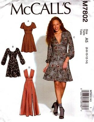 McCalls Sewing Pattern 7802 M7802 Misses Dress Size 6-8-10-12-14 NEW