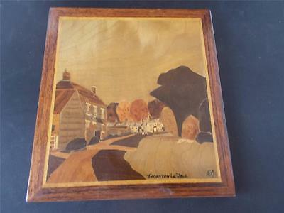 Vintage SIGNED Wooden Marquetry THORNTON LE DALE North Yorkshire Inlaid Panel