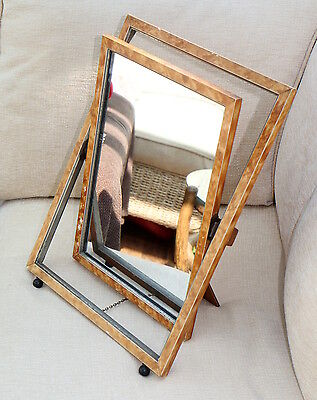Vintage Easel Mounted Dressing Table Mirror Painted Tortoiseshell Effect Finish