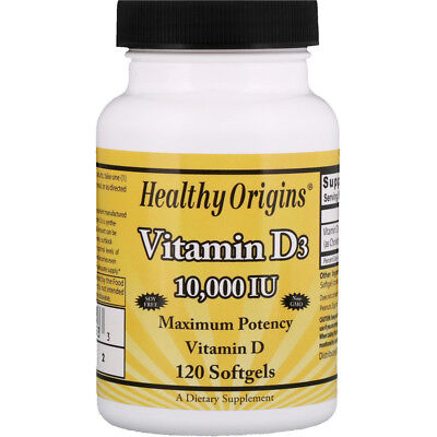 Healthy Origins Vitamin D3, 10000IU, 120 Softgels