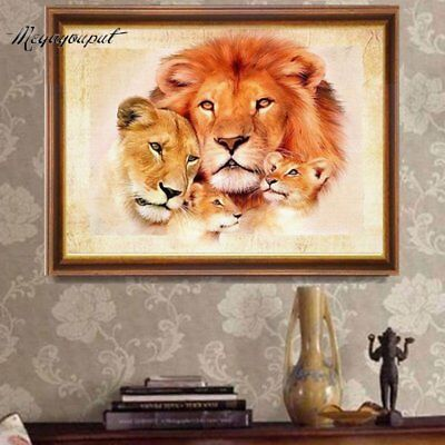 30*25cm DIY 5D Embroidery Lions Pattern Diamond Plated Painting Cross Stitch