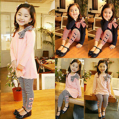 2PCS Child Kids Baby Girls Long Sleeve Bow Dress T-Shirt Tops+Pants Outsuits CU