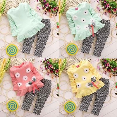 UK Kids Baby Girl Long Sleeve Flower Bow T-Shirt Tops+Pant 2PCS/Set Outfits CU