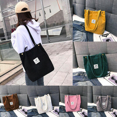 Fashion Women Corduroy Pure Color Shoulder Bag Satchel Tote Hand Bag Travel Bag