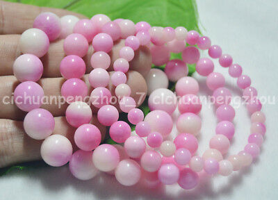 Natural 6/8/10/12mm Pink Kunzite Round Gemstone Beads Elastic Bracelet 7.5''