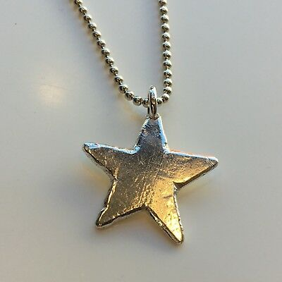 HAND MADE maxi star pendant  BEATEN STERLING SILVER NECKLACE London Hallmarked