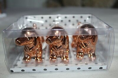 Dachshund Dog Rose Gold Christmas Ornaments Nib Set Of 3