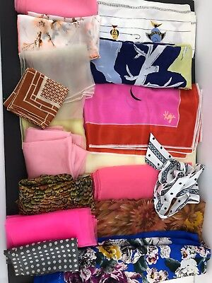 Lot of  Vintage Silk Polyester Large & Square Scarves Handkerchief Floral Groovy