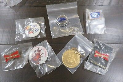 Lot Budweiser Beer Swag Buttons, Pins, Key Chain, Bud Light. Clydesdale, Spuds
