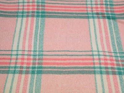 "Vintage Welsh Wool Check Blanket / Throw - Salmon Pink Green 85"" x 66"""