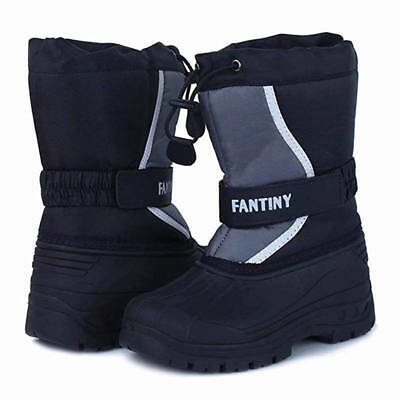 Unisex Boys Girls Warm Winter Snow Boots Kid Mid Calf Outdoor Cotton Shoes Thick