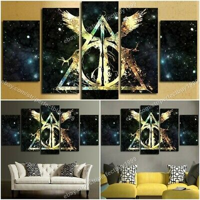 HARRY POTTER DEATHLY HALLOWS LOGO SIGN SYMBOL HOGWARTS 5 PCS Printing Canvas Art