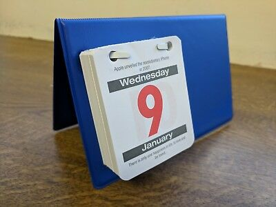 Blue PVC Desktop Desk Easel Calendar with 2019 red/grey tear-off date block