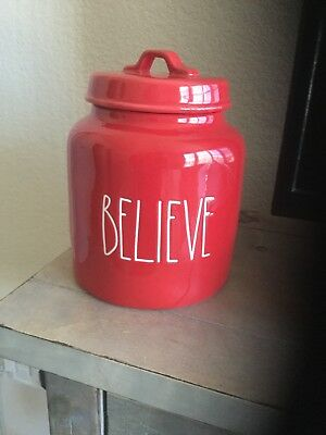 New Rae Dunn By Magenta LL BELIEVE Christmas Red Canister Large Jar 2018