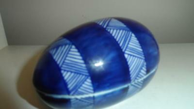 Vintage Fitz and Floyd Small Ceramic Blue White Egg Trinket Box