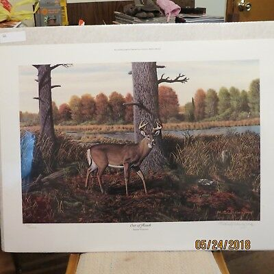 "Deer Hunting Painting Print Art Man Cave Michael Wawrzyniec 1986 ""out Of Reach"""