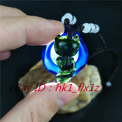 Chinese Natural Black Green Jade Fox Pendant Necklace Charm Jewelry Amulet Top