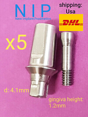 5x Dental Implant Straight Abutment for Straumann® Bone Level RC 4.1mm + Screw