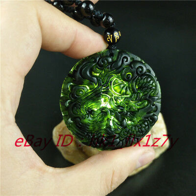 Chinese Natural Black Green Jade Dragon Phoenix Pendant Necklace Jewelry Amulet
