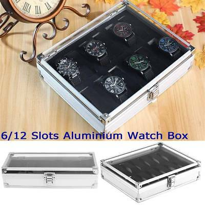 6/12 Grids Aluminum Wrist Watch Display Box Jewellery Storage Clear Case