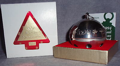 MIB 1994 Wallace 24th Annual Silver Plate Sleigh Bell Xmas Ornament Decoration