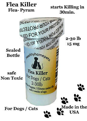 100 CAPSULES Flea Killer for Dogs and Cats 2-30 Lbs.15 Mg Control Quick Results